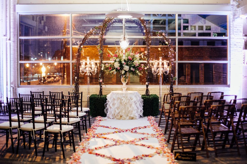 Indoor romantic wedding vibe at the IceHouse